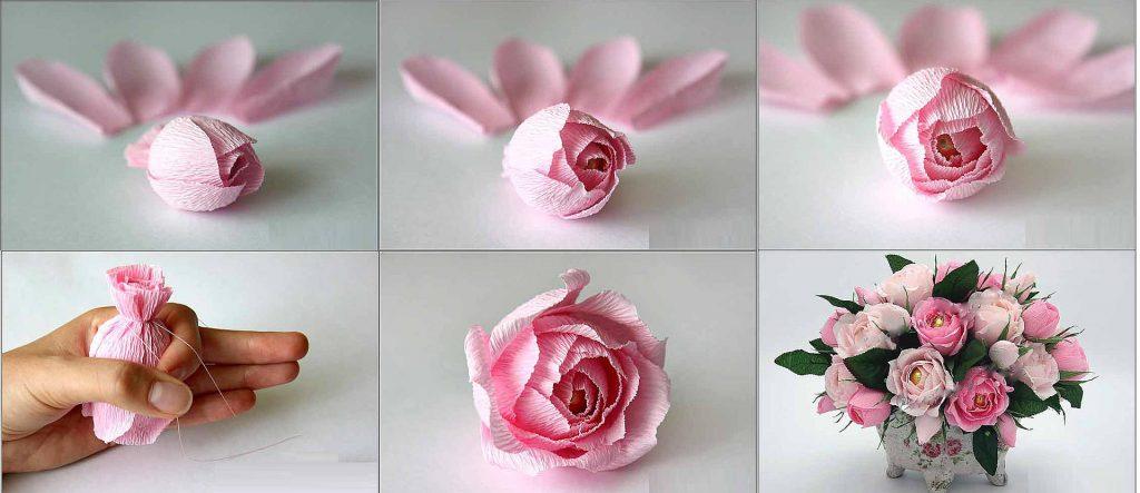 Гофрированные розы с конфетами своими руками