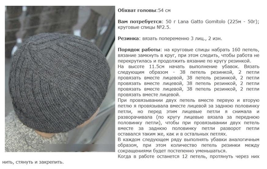 Вязание шапок на спицах круговых спицах 47