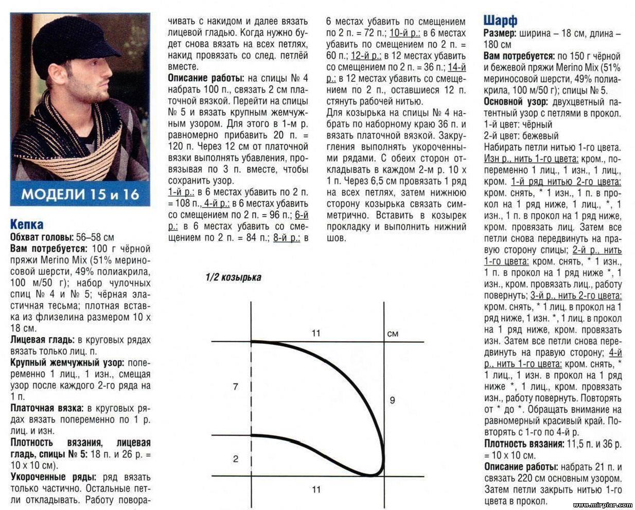 Как связать мужскую шапку схемы и фото