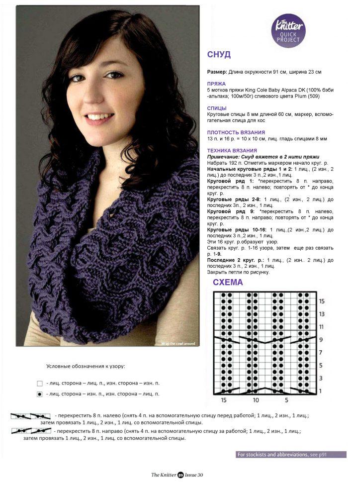 Вязание шарфа снуд спицами схемы и описание для начинающих