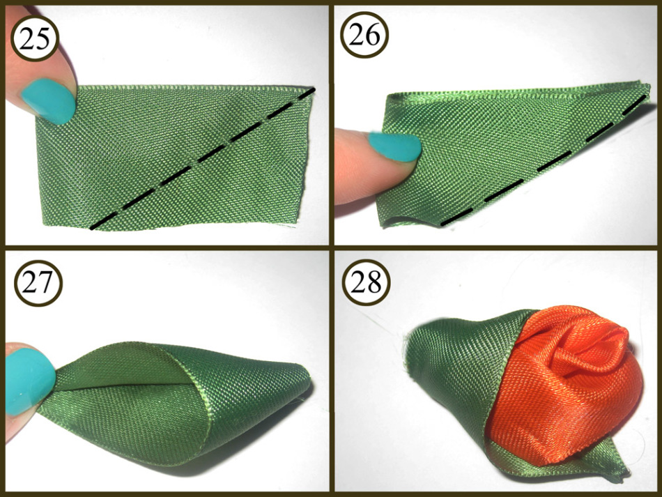 Как сделать листочки из лент своими руками 17