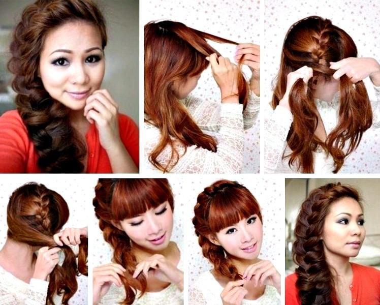 Плетение причёсок на средние волосы самому себе для девочки в школу